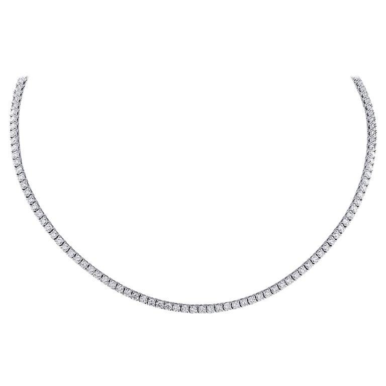 Vivid Diamonds 14.61 Carat Straight Line Tennis Necklace For Sale