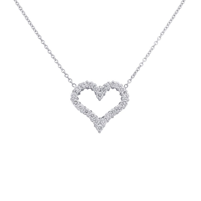 Modern Vivid Diamonds 1.5 Carat Diamond Open Heart Pendant Necklace For Sale
