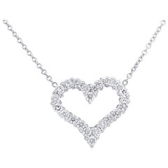 Vivid Diamonds 1.5 Carat Diamond Open Heart Pendant Necklace