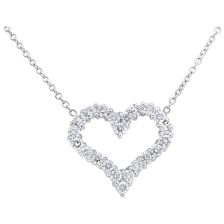 Vivid Diamonds 1.5 Carat Diamond Open Heart Pendant Necklace For Sale