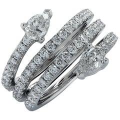 Vivid Diamonds 1.51 Carat Diamond Wrap around By Pass Ring