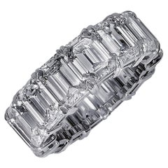 Vivid Diamonds 15.18 Carat Emerald Cut Diamond Platinum Eternity Band