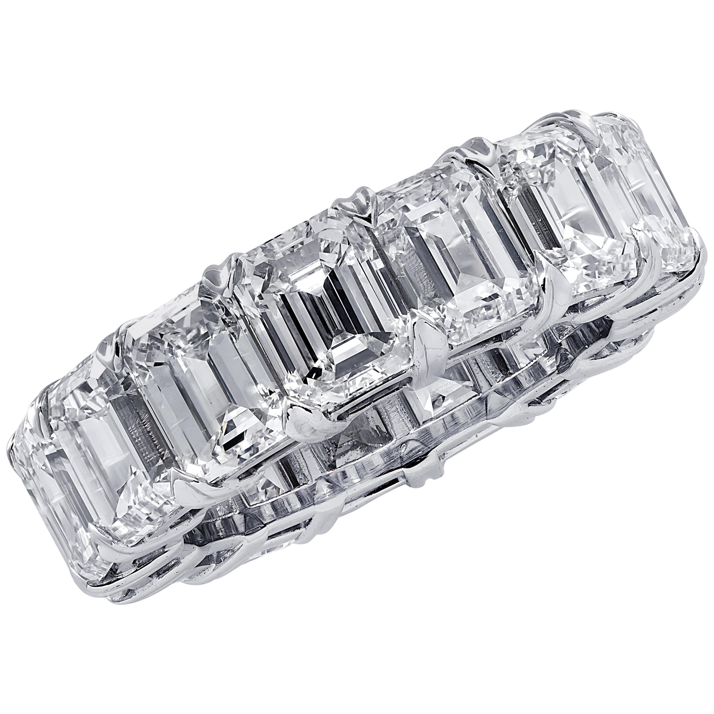 Vivid Diamonds 15.23 Carat Emerald Cut Diamond Eternity Band