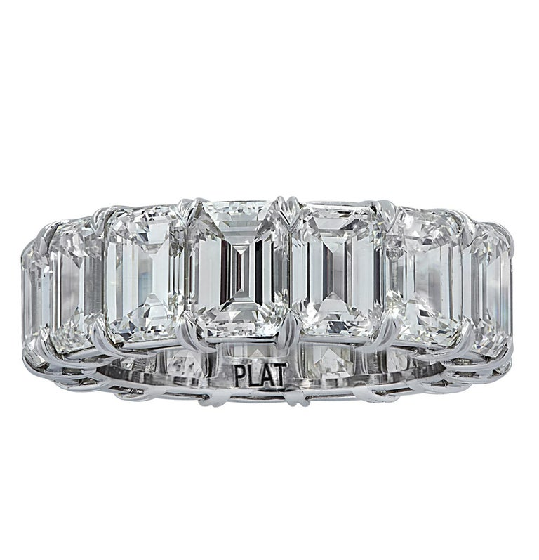 Exquisite eternity band crafted in Platinum, showcasing 15 stunning emerald cut diamonds weighing 15.57 carats total,  J-K color, VS clarity. Each diamond was carefully selected, perfectly matched and set in a seamless sea of eternity, creating a