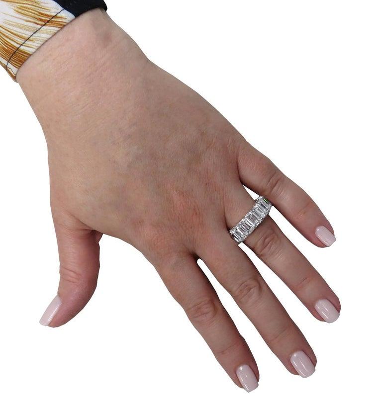 Emerald Cut Vivid Diamonds 15.57 Carat Diamond Eternity Band  For Sale