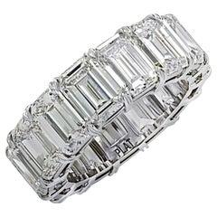 Vivid Diamonds 15.58 Carat Emerald Cut Diamond Eternity Band