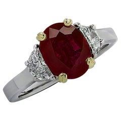 Vivid Diamonds 1.8 Carat Ruby and Diamond Three Stone Ring
