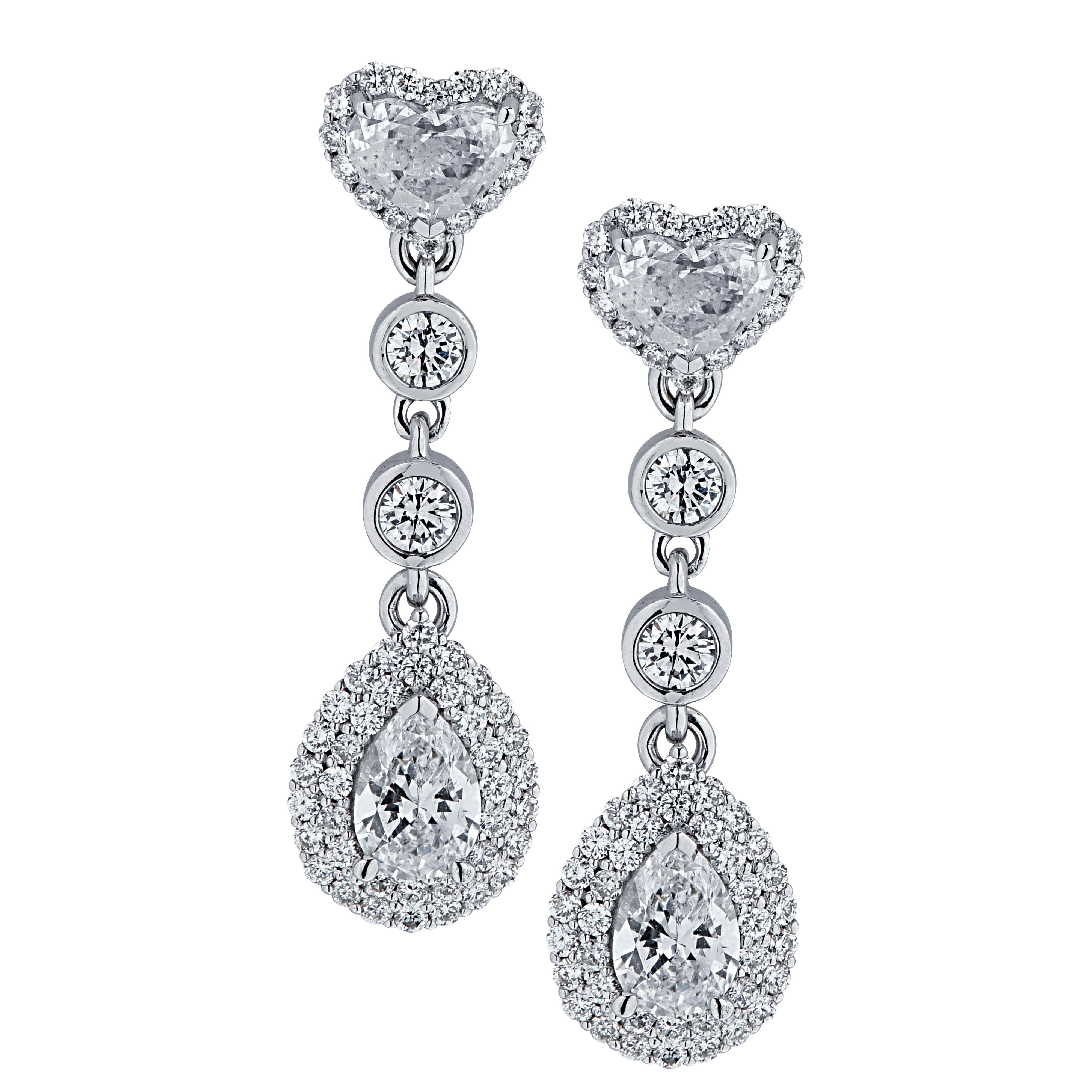 Vivid Diamonds 1.88 Carat Diamond Dangle Earrings