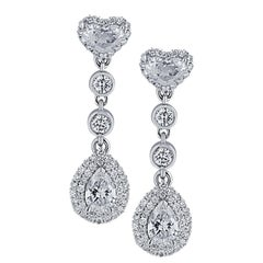 Vivid Diamonds 1.88 Carat Diamond Dangle Earrings