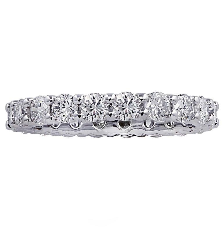 Round Cut Vivid Diamonds 2.16 Carat Diamond Eternity Band For Sale