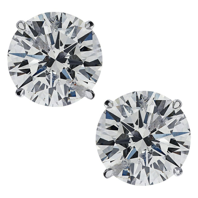Vivid Diamonds 2.21 Carat Diamond Solitaire Stud Earrings For Sale