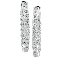 Vivid Diamonds 2.32 Carat Diamond In and Out Hoop Earrings