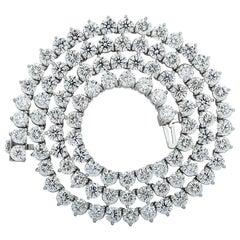 Vivid Diamonds 25.39 Carat Straight Line Diamond Tennis Necklace