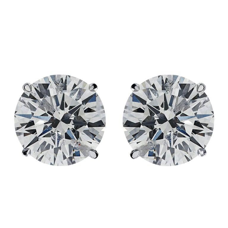 Modern Vivid Diamonds 2.56 Carat Diamond Solitaire Stud Earrings For Sale