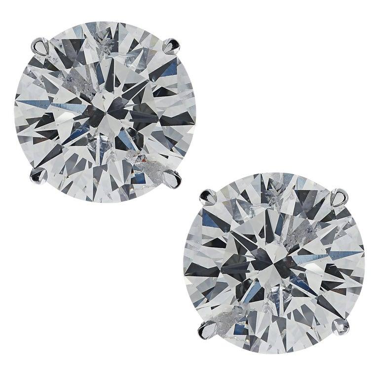 Vivid Diamonds 2.56 Carat Diamond Solitaire Stud Earrings For Sale