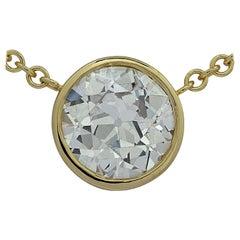 Vivid Diamonds 2.68 Carat Old European Cut Diamond Necklace
