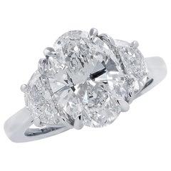 Vivid Diamonds 3.01 Carat GIA Certified Oval Cut Diamond Engagement Ring