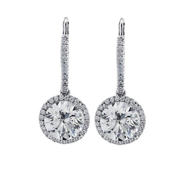 Round Cut Vivid Diamonds 3.30 Carat Diamond Dangle Earrings For Sale