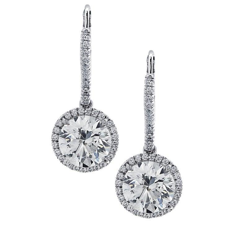 Vivid Diamonds 3.30 Carat Diamond Dangle Earrings For Sale