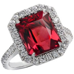 Vivid Diamonds 3.90 Carat Rubelite Tourmaline and Diamond Halo Engagement Ring