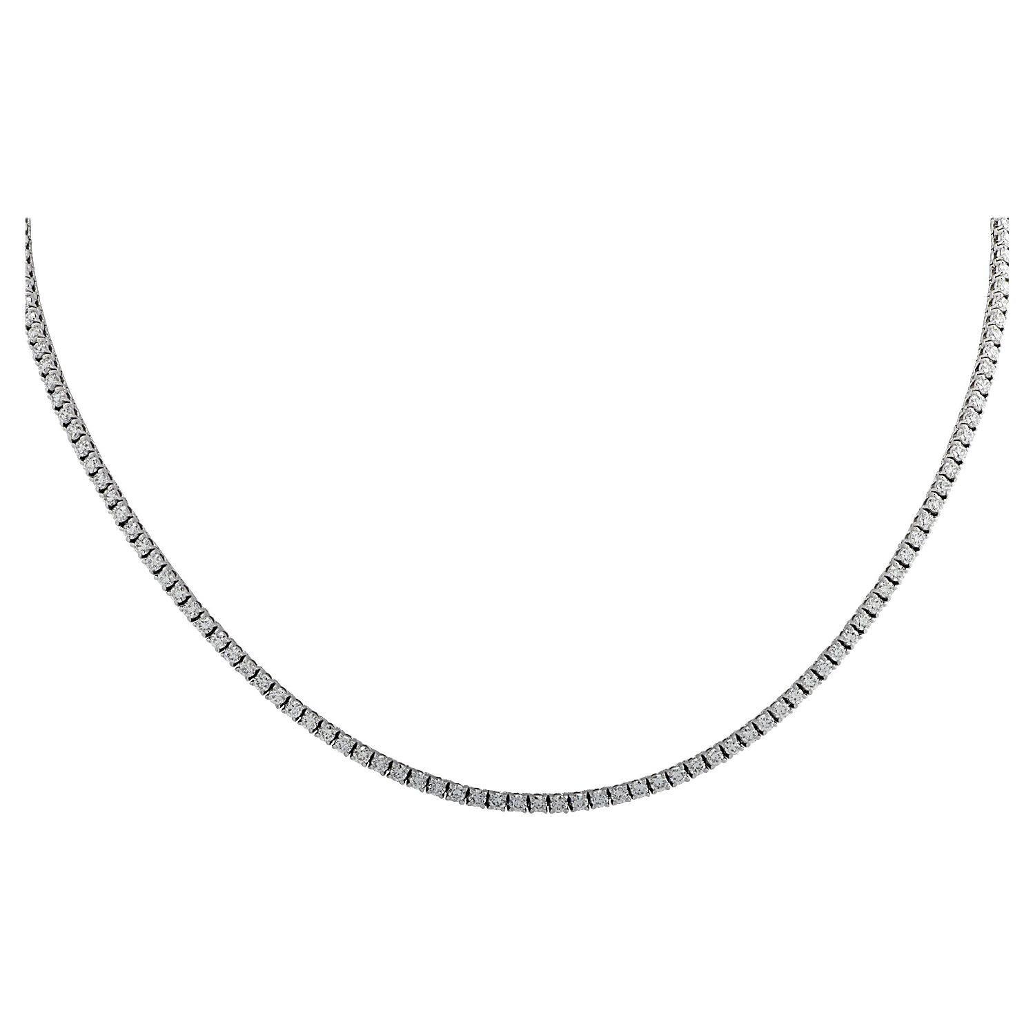 Vivid Diamonds 3.98 Carat Straight Line Diamond Tennis Necklace