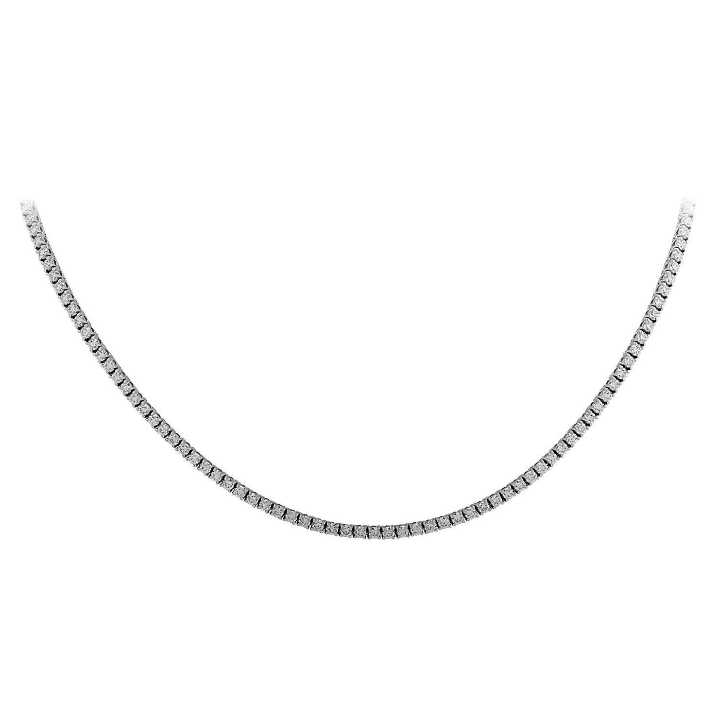 Vivid Diamonds 4.04 Carat Straight Line Diamond Tennis Necklace