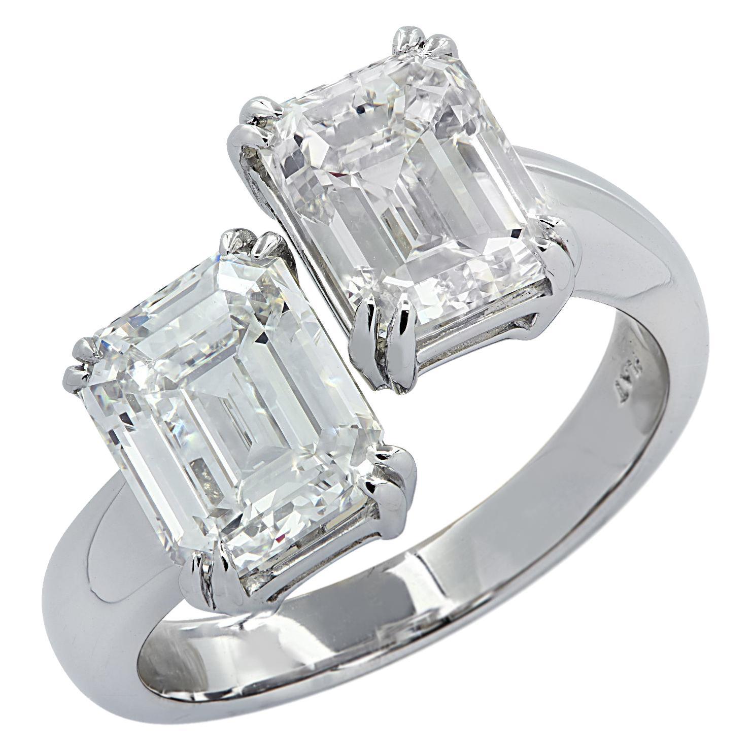 Vivid Diamonds 4.06 Carat Emerald Cut Diamond Moi Et Toi Ring