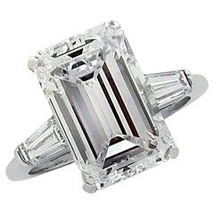 Vivid Diamonds 5.03 Carat Emerald Cut Diamond Engagement Ring