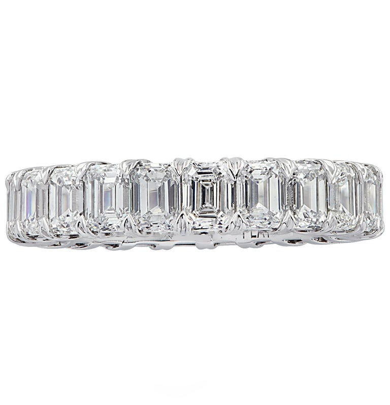 Exquisite Vivid Diamonds eternity band crafted by hand in platinum, showcasing 22 stunning emerald cut diamonds weighing  5.12 carats total, D-F color, IF-VVS clarity. Each diamond is carefully selected, perfectly matched and set in a seamless sea
