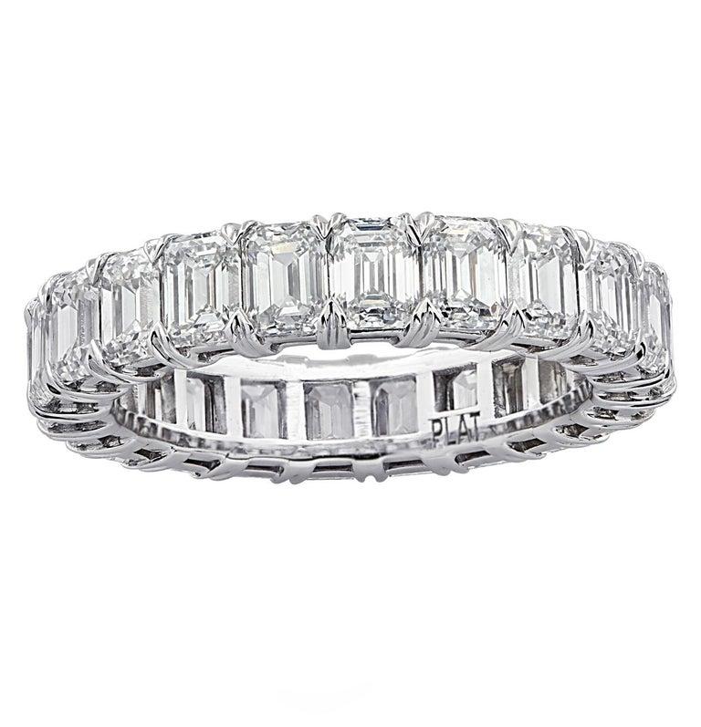 Modern Vivid Diamonds 5.12 Carat Emerald Cut Diamond Eternity Band For Sale