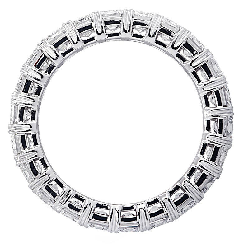 Vivid Diamonds 5.12 Carat Emerald Cut Diamond Eternity Band In New Condition For Sale In Miami, FL