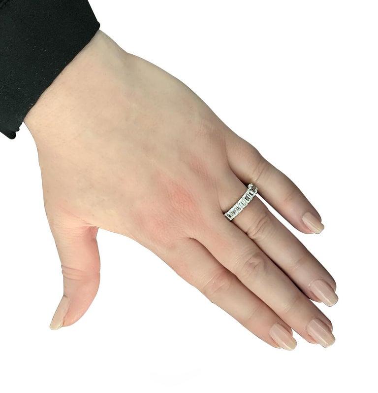 Women's Vivid Diamonds 5.12 Carat Emerald Cut Diamond Eternity Band For Sale