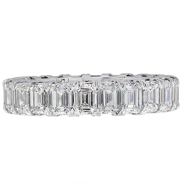 Vivid Diamonds 5.12 Carat Emerald Cut Diamond Eternity Band For Sale 1