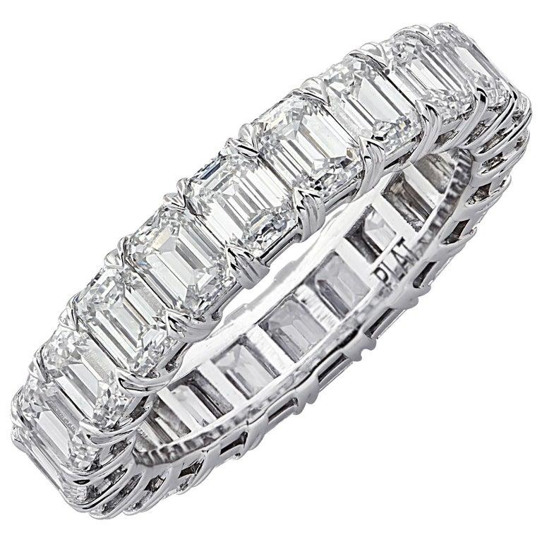 Vivid Diamonds 5.12 Carat Emerald Cut Diamond Eternity Band For Sale