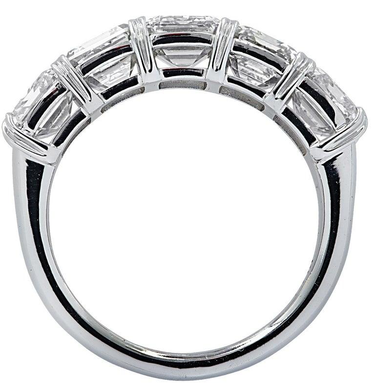 Modern Vivid Diamonds 6.02 Carat Five Stone Diamond Wedding Band For Sale