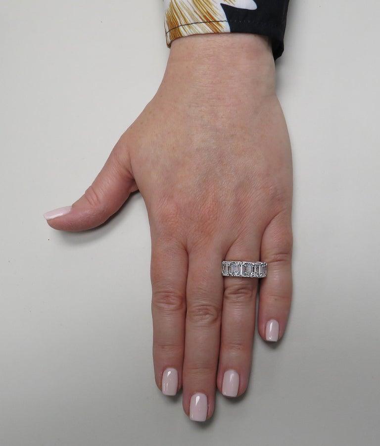 Emerald Cut Vivid Diamonds 6.02 Carat Five Stone Diamond Wedding Band For Sale