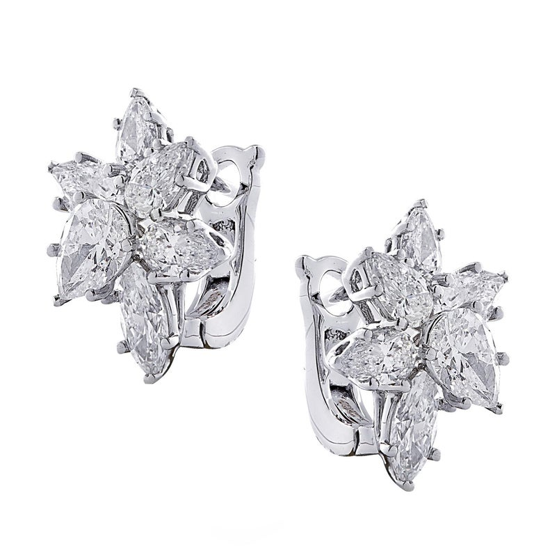 Sensational Vivid Diamonds earrings, custom made in platinum, showcasing 12 pear shape and marquise cut diamonds weighing 6.04 carats total, G-H color SI clarity. The diamonds are arranged in spectacular flowers, capturing the unparalleled beauty of