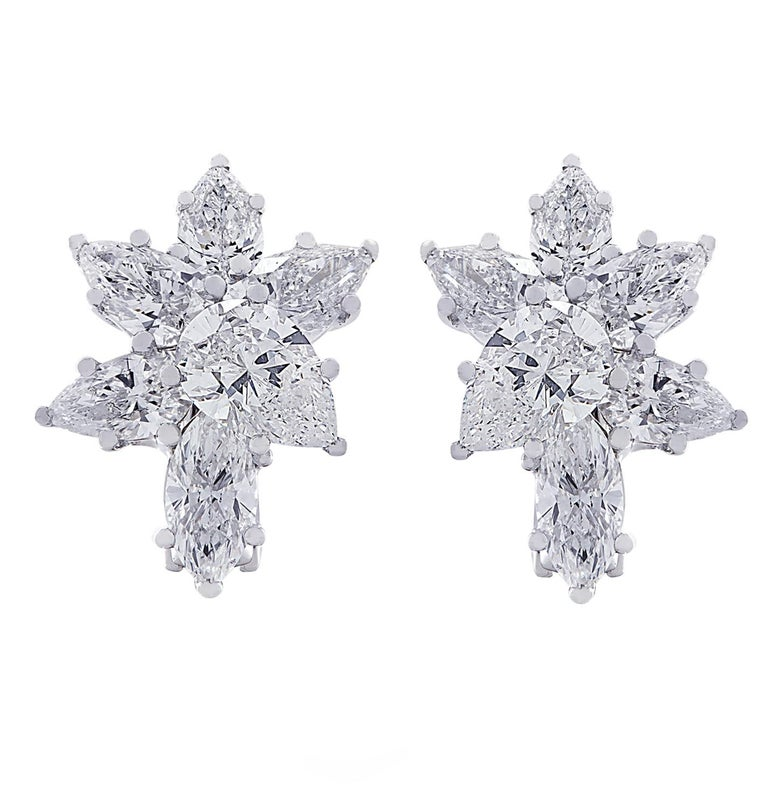 Modern Vivid Diamonds 6.04 Carat Diamond Cluster Platinum Earrings For Sale
