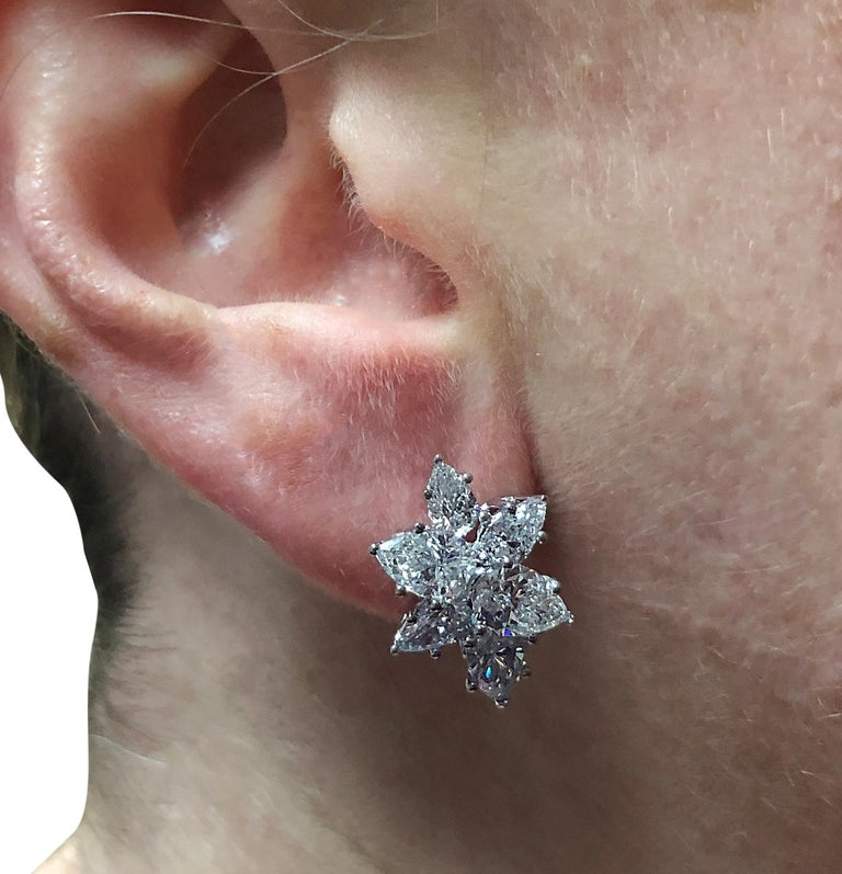 Vivid Diamonds 6.04 Carat Diamond Cluster Platinum Earrings In New Condition For Sale In Miami, FL