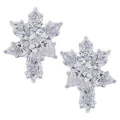 Vivid Diamonds 6.04 Carat Diamond Cluster Platinum Earrings