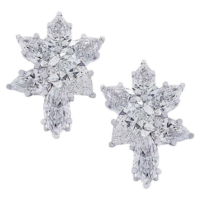 Vivid Diamonds 6.04 Carat Diamond Cluster Platinum Earrings For Sale