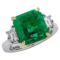 Vivid Diamonds 6.63 Colombian Emerald and Diamond Ring