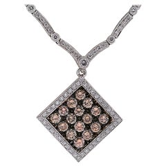 Vivid Diamonds 6.97 Carat Fancy Color Diamonds Gold Necklace