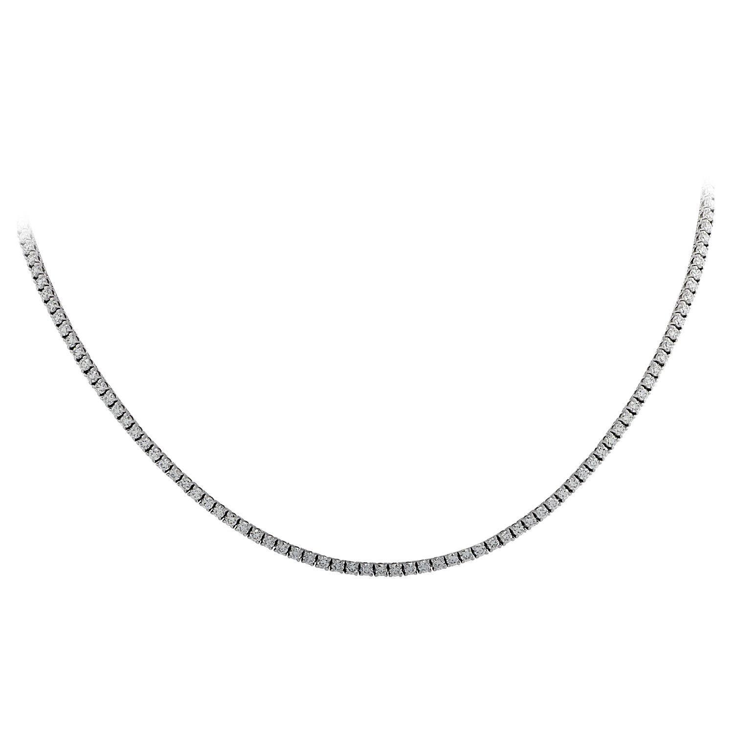 Vivid Diamonds 7.10 Carat Straight Line Diamond Tennis Necklace