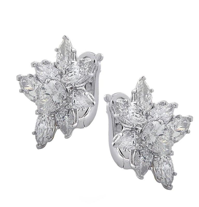 Modern Vivid Diamonds 7.92 Carat Diamond Cluster Earrings For Sale