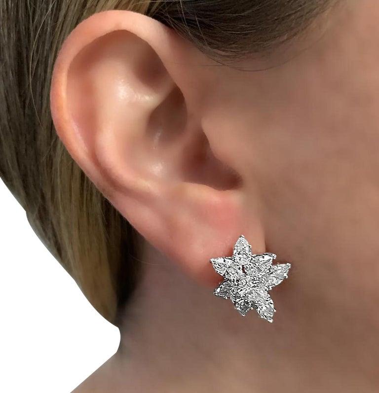 Pear Cut Vivid Diamonds 7.92 Carat Diamond Cluster Earrings For Sale
