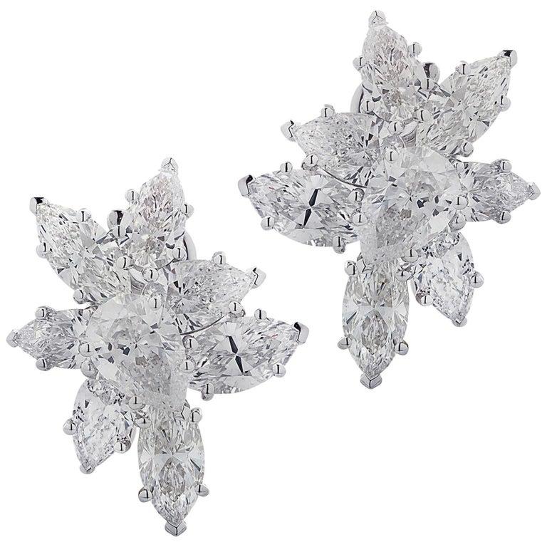 Vivid Diamonds 7.92 Carat Diamond Cluster Earrings For Sale