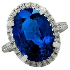 Vivid Diamonds 9.68 Carat Sapphire and Diamond Halo Ring