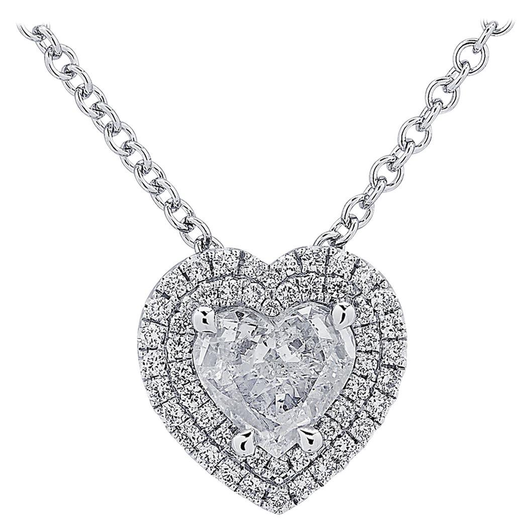 Vivid Diamonds .98 Carat Diamond Double Halo Heart Necklace