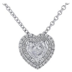 Vivid Diamonds .98 Carat Diamond Double Halo Heart Necklace